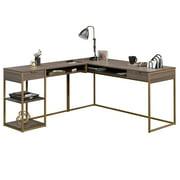 Sauder International Lux L-Shaped Desk, Diamond Ash Finish
