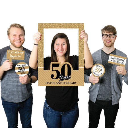 We Still Do - 50th Wedding Anniversary Selfie Photo Booth Picture Frame & Props-Printed on Sturdy Material - 50th Wedding Anniversary Games