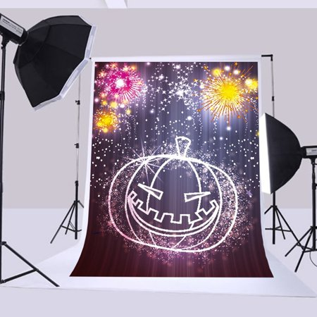 HelloDecor Polyster 5x7ft Halloween backgrounds Children Photography Background Pumpkin Fireworks Photography backdrops