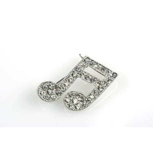 Noteables 16th Note Stick Pin in Silver with Rhinestone