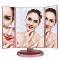 Tebru Tri-Fold 22 LED Lights 2X 3X Magnification Touch Screen Desktop Vanity Makeup Mirror, Tri-Fold Makeup Mirror, Tri-Fold Cosmetic Mirror