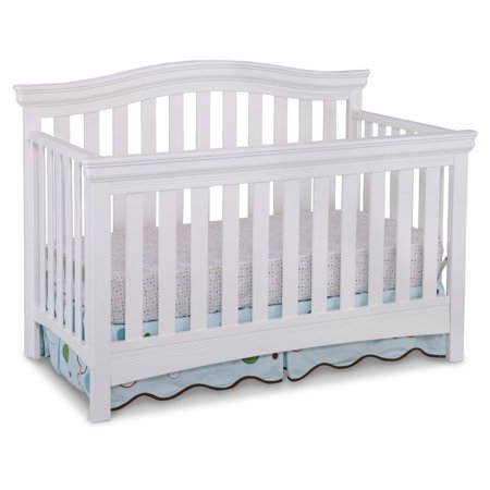 Delta Children Bennington Curved 4-in-1 Convertible Crib, White Ambiance