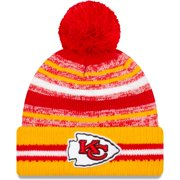 Kansas City Chiefs New Era 2021 NFL Sideline Sport Official Pom Cuffed Knit Hat - Red/Gold - OSFA