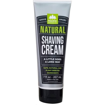 Pacific Shaving Company Natural Shave Cream - with Safe, Natural, and Plant-Derived Ingredients for a Smooth Shave, Healthy, Hydrated, & Softer Skin, Less Irritation, Cruelty-Free, Made in USA, 7 oz