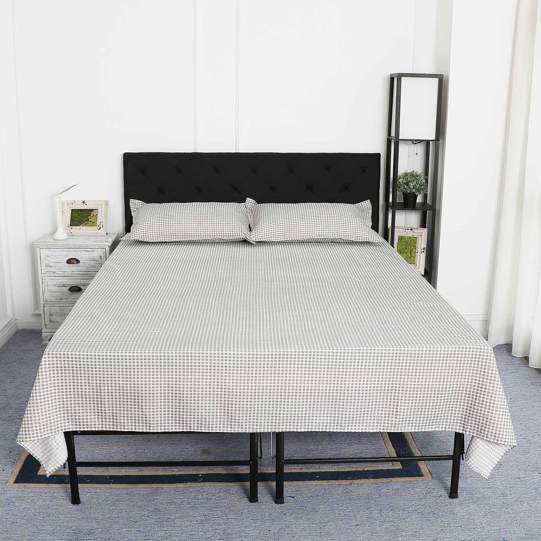 Upholstered Headboard King Size w/ Steel Leg Fabric Diamond Pattern