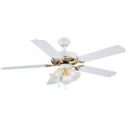 Boston Harbor Ceiling Fan Light Kit, Candelabra, 3, 60 W Lamp, White, Polished Brass, 18-1/2 In H