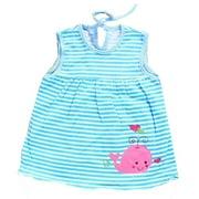 Baby Girls Blue White Stripe Pattern Whale Applique Sleeveless Dress 12-24M