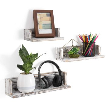 Set of 3 NEX Floating Wall Mounted Rustic Wood Shelves