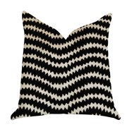 Plutus Jagged Fringe Luxury Throw Pillow in Black and Beige