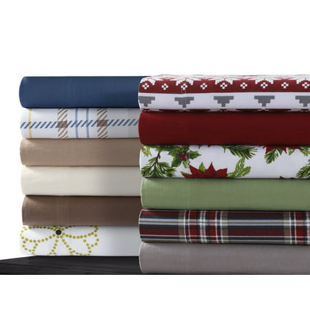 Cotton Flannel Extra Deep Pocket Sheet Set with Oversize Flat Sheet - King (Best Deep Pocket Flannel Sheets)
