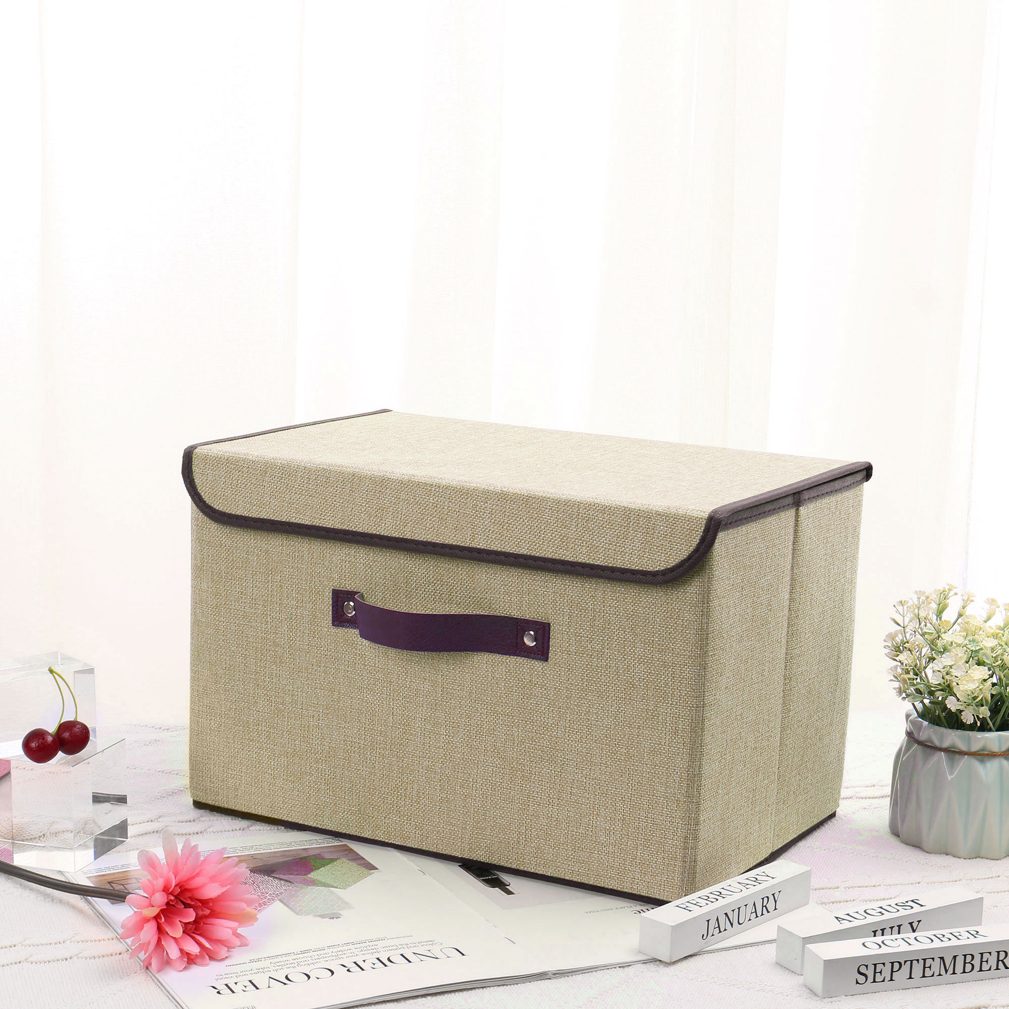 Fabric Storage Bin Basket Toy Box with Lid for Home Office Shelves Green