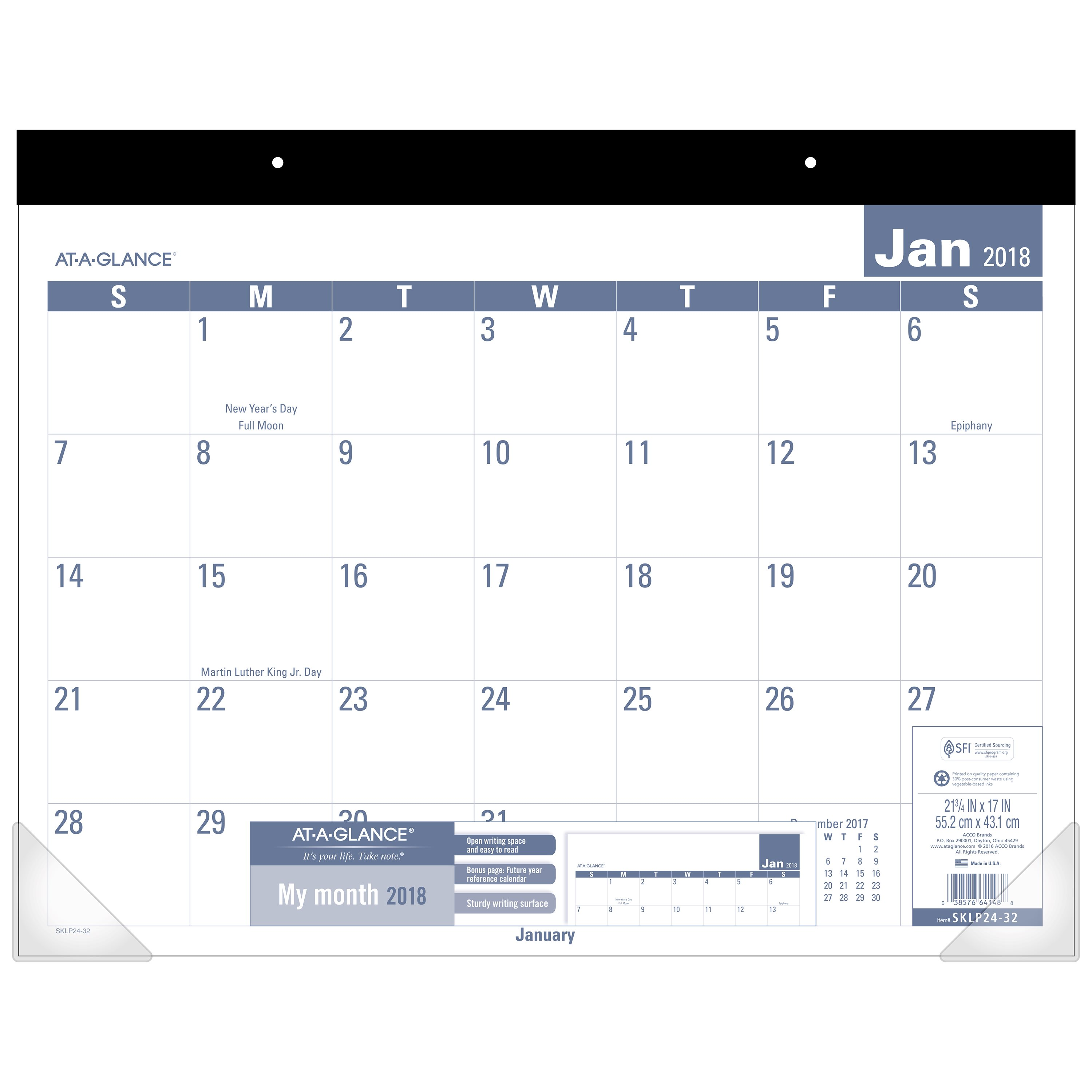 """2018 AT-A-GLANCE Easy to Read Desk Pad, 12 Months, January Start, 22"""" x 17"""" (SKLP2W32) by ACCO BRANDS"""