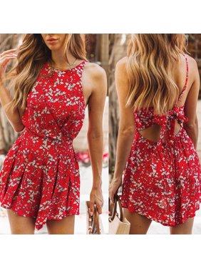 Women Summer Sleeveless Bohemian Bodycon Jumpsuit Playsuit Shorts Romper Beach Floral Backless Holiday Mini Dress