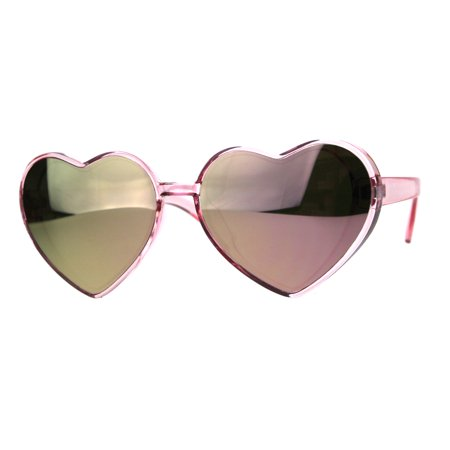 Womens Color Mirror Valentine Heart Shape Plastic Hippie Sunglasses All Pink
