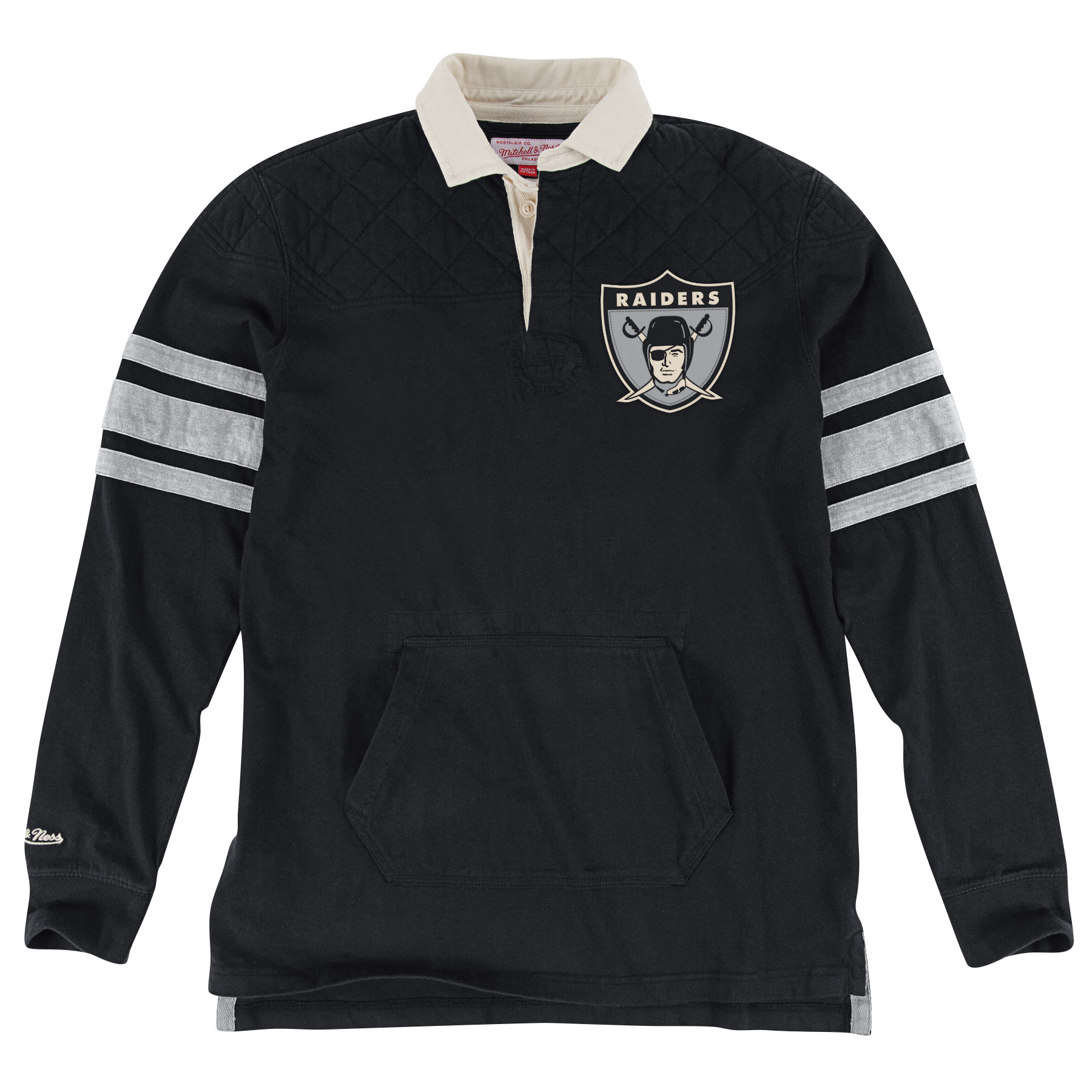 Oakland Raiders Mitchell & Ness NFL Premium Long Sleeve Rugby Shirt