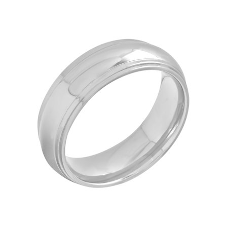 - Men's Stainless Steel 8MM High Polish Wedding Band - Mens Ring