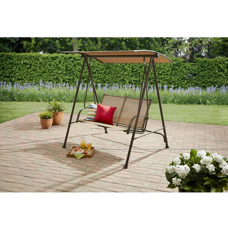 Outsunny Relaxer Covered Metal Canopy Porch Swing Brickseek