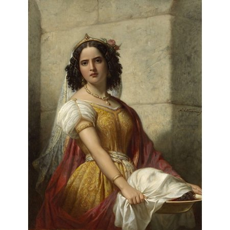Salone With The Head Of John The Baptist By Jan Adam Kruseman C 1861 Dutch Oil Painting Salome In Rich Costume Carries The Platter With The Head Of The Baptist Poster Print