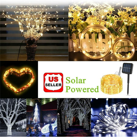 Solar LED String Lights 100 Copper Wire 33ft Waterproof Outdoor Fairy LED Decor ()