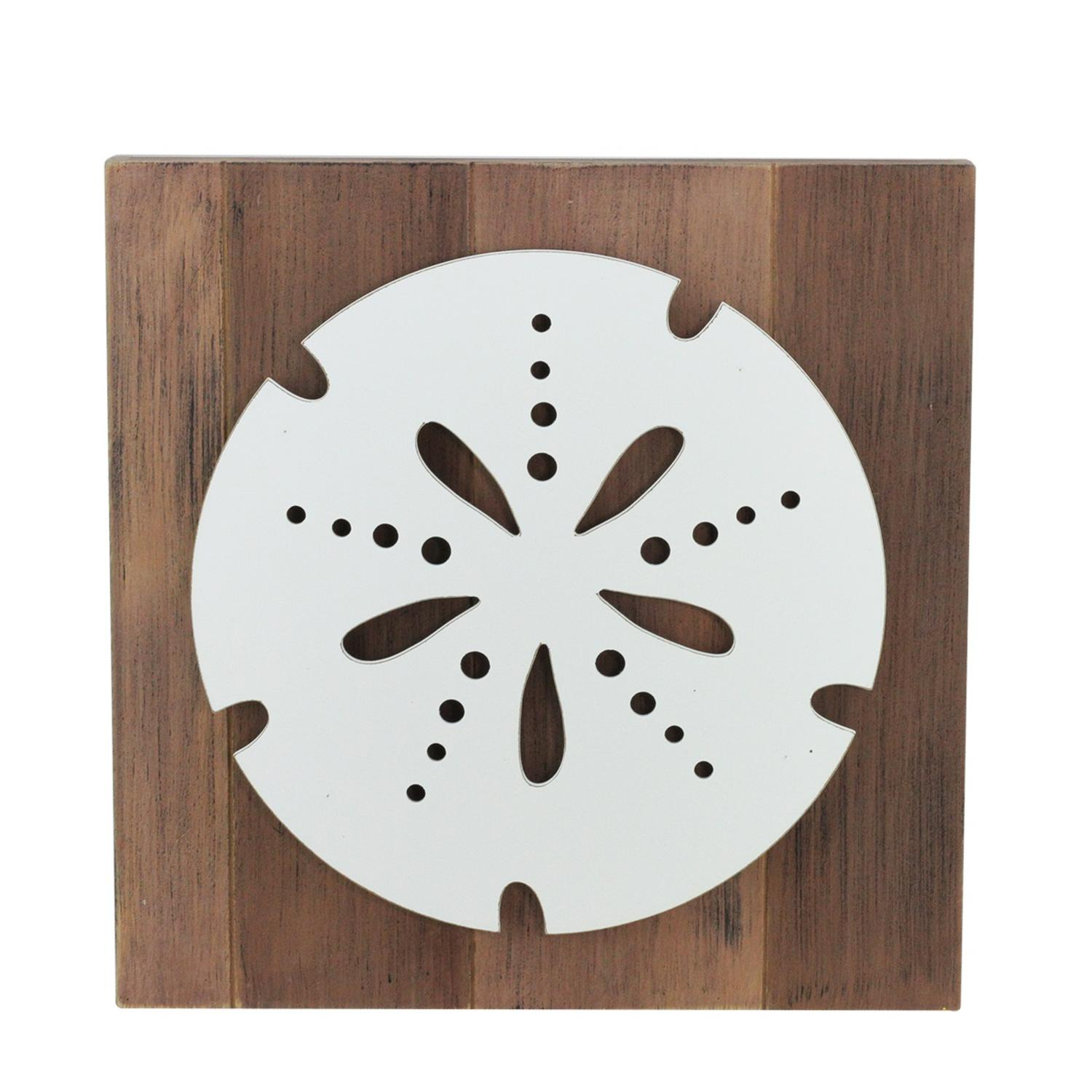 "15.75"" White Sand Dollar Rustic Brown fond décoratif mur Plaque - image 1 de 1"