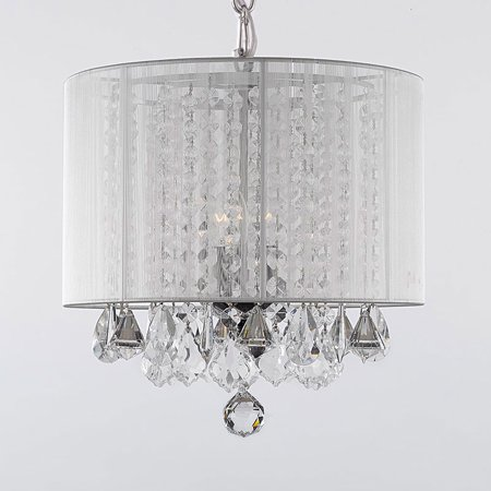 Crystal Chandelier With Large White Shade! H15