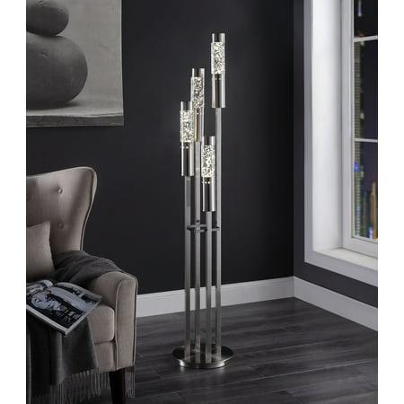 Brushed Nickel Floor Lamp (Acme Claus Floor Lamp in Brushed Nickel Metal Base)