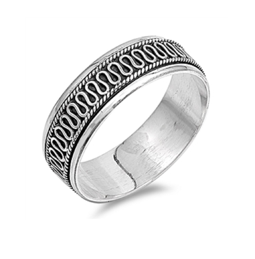 Sterling Silver Crooked Line Spinner Ring