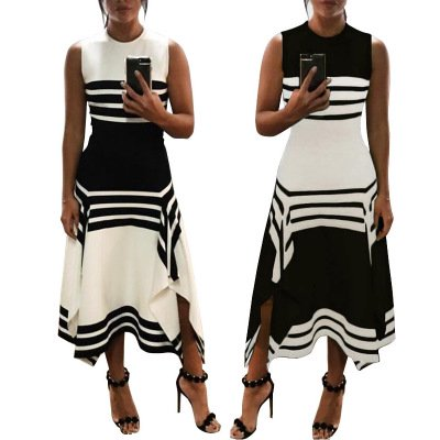 Summer Women's Sleeveless Scoop Neck Striped Loose Beach Long Maxi Dress Sundress (Stylish Scoop Neck Sleeveless Striped Womens Sundress)