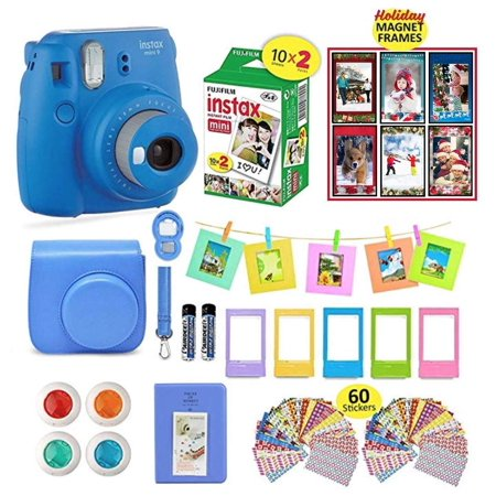 Fujifilm Instax Mini 9 Camera Cobalt Blue Camera + 20 Instant Fuji-Film Shots, Instax Case + 14 PC Instax Accessories Bundle, Fuji Mini 9 Kit Gift, Albums, Lenses, 60 Stickers (Cobalt Blue Machine)