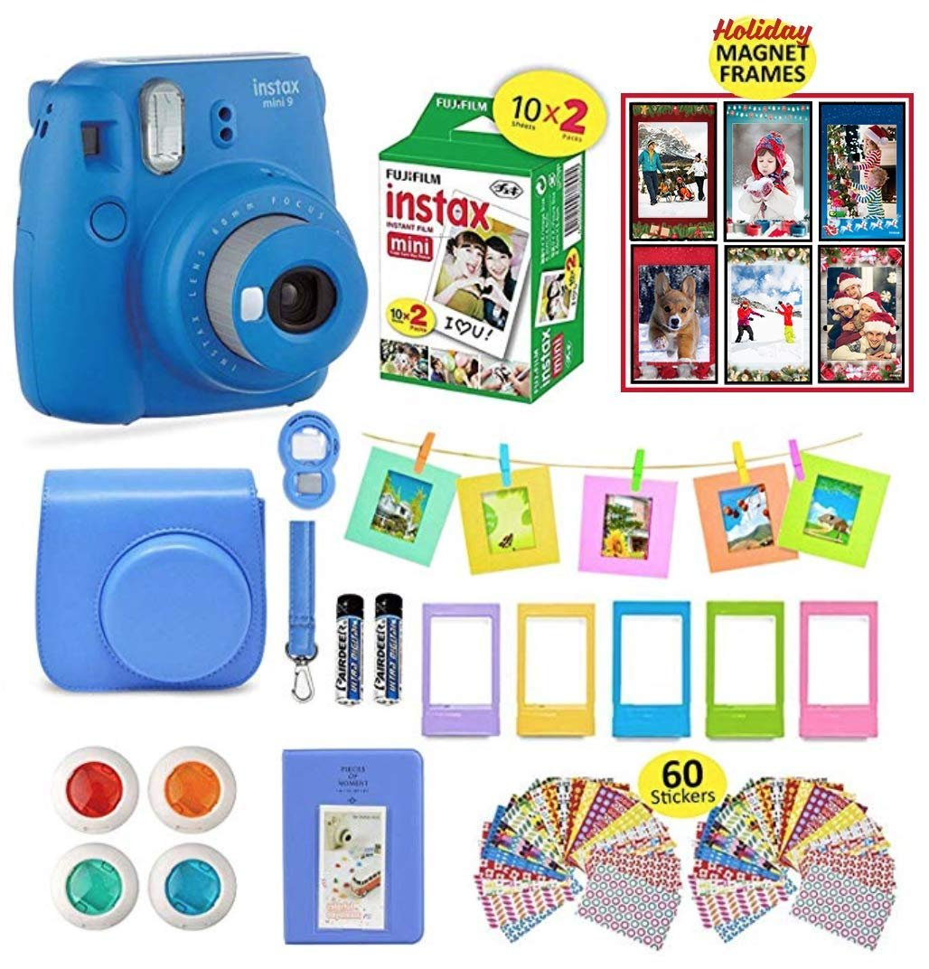 Fujifilm Instax Mini 9 Camera Cobalt Blue + 20 Instant Fuji-Film Sheets, Instax Camera Case + 14 PC Instax Accessories Bundle, Fuji Mini 9 Kit Gift, Albums, Lenses, 60 Stickers + Magnet Frames