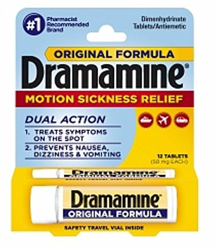 Dramamine Motion Sickness Relief Original Formula, 50 mg, 12 Count (Pack of 2)