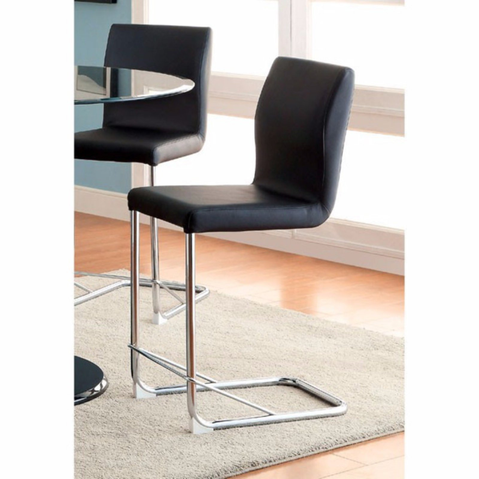Lodia II Contemporary Counter Height Chair With Black Pu, Set Of 2