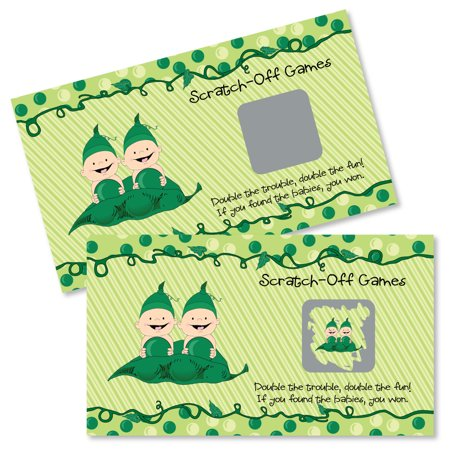 Twins Two Peas in a Pod - Baby Shower or Birthday Party Game Scratch Off Cards - 22 Count