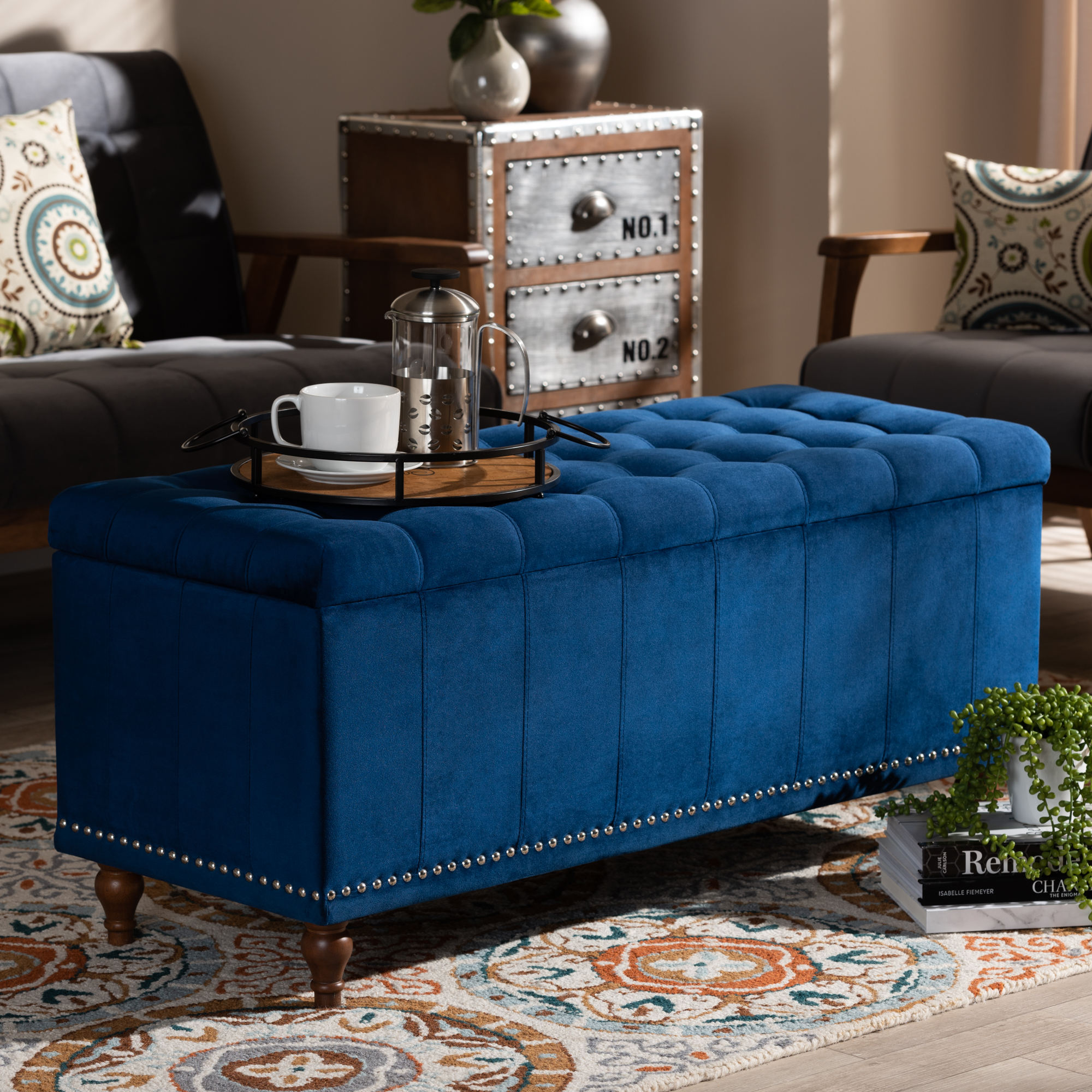 Baxton Studio Kaylee Modern And Contemporary Navy Blue
