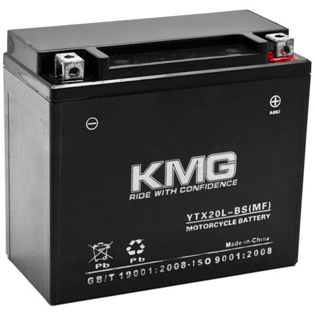 KMG Battery for Harley-Davidson 1450 FXD Series Dyna 1999-2006 YTX20L-BS Sealed Maintenace Free Battery High Performance 12V SMF OEM Replacement