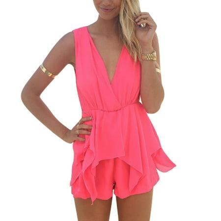 Woman Sleeveless Crossover V Neck Elastic Waist Sexy Playsuit Deep Pink XS
