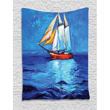 Ship Tapestry, Oil Painting Style Sailship Frigate Floating on the Sea Modern Impressionism Artwork, Wall Hanging for Bedroom Living Room Dorm Decor, 40W X 60L Inches, Multicolor, by Ambesonne