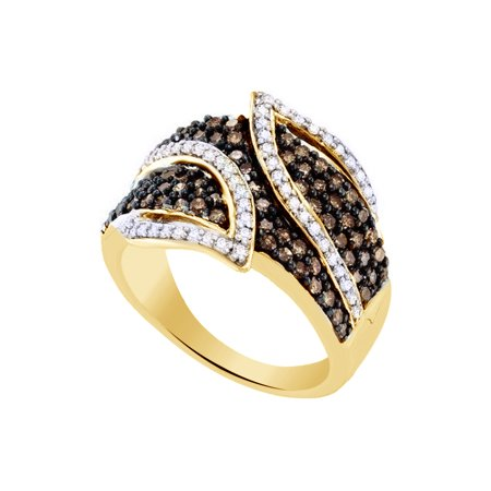 Brown & White Natural Diamond Fashion Band Ring In 10k Yellow Gold (1