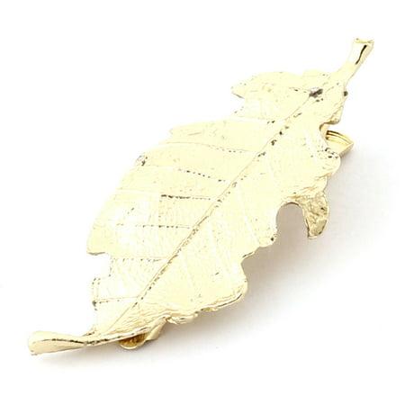 Women Metal Leaf Shaped Alligator Hair Decoration Barrette Hairclip Gold Tone](Alligator Decorations)