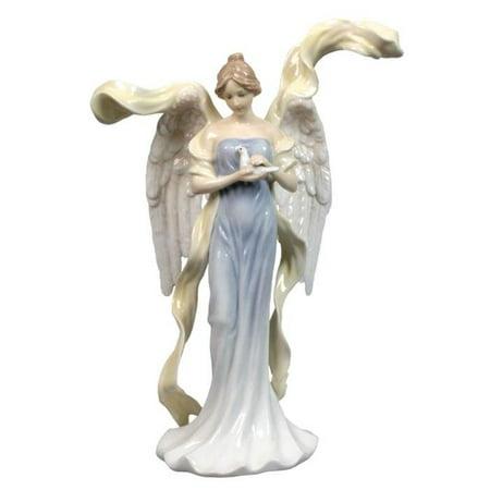 Gorgeous Blue Glaze (9.5 Inch Tall Glazed Porcelain Angel in Blue Dress Holding)