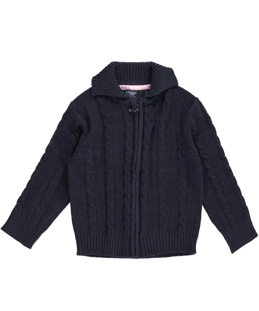 """U.S. Polo Assn. Little Girls' """"Cable Comfort"""" Cardigan (Sizes 4 - 6X)"""