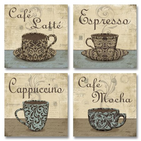 Lovely, Vintage Espresso, Cafe Latte, Cafe Mocha, Cappuccino Coffee Cup Signs; Four 12X12 Poster Prints