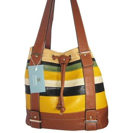 Junior Womens Brown Multi Stripe Double Shoulder Strap Chic Handbag Purse