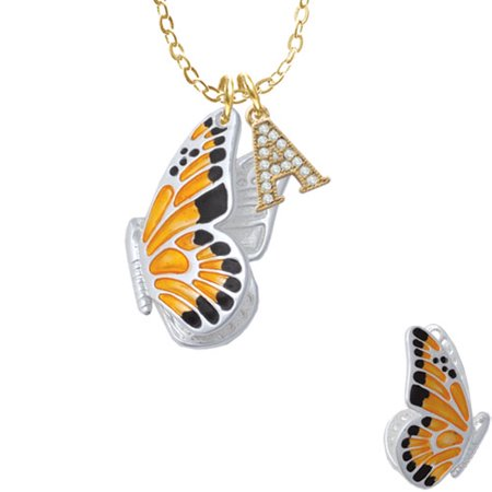 "Large Orange & Black Flying Butterfly - A - Gold Tone Crystal Initial Sophia Necklace, 18""+1"""