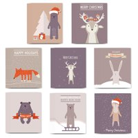 48 Holiday Christmas Greeting Cards, 8 Assorted Delightful Animal Critter Designs, Envelopes Included, Warm Seasonal Wishes to Family & Friends, Mixed Assortment Boxed Cards, by Digibuddha VHA0010
