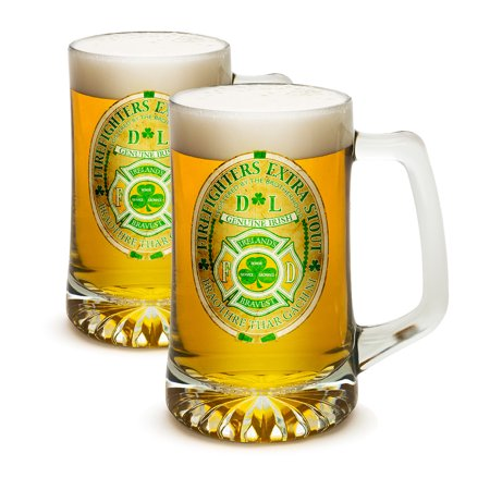 SET OF 2 Firefighters Extra Stout Ireland's Bravest 25 Ounce Tankard Beer Mugs by