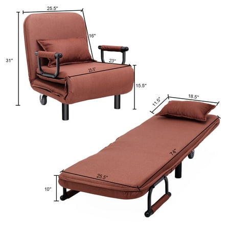 "26.5"" 5 Reclining Positions Folding Single Sofa Bed Sleeper Lounge Couch - image 5 of 8"
