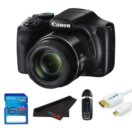 Canon PowerShot SX540 HS Digital Camera (Black) + Pixi Starter Bundle - Starter Kit Bundle