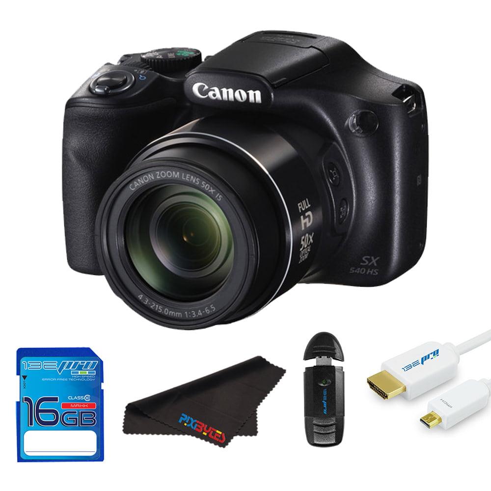 Canon PowerShot SX540 HS Digital Camera (Black) + Pixi Starter Bundle Kit