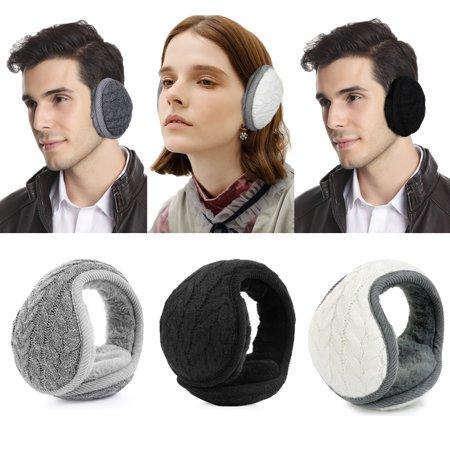 Winter Earmuffs-Fitbest Unisex Classic Fleece Earmuffs Foldable Ear Muffs Winter Accessory Outdoor EarMuffs Knitted Ear Warmer